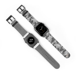 Light Grey Classic Camo Print 38mm/42mm Watch Band For Apple Watch- Made in USA-Watch Band-38 mm-Black Matte-Heidi Kimura Art LLC