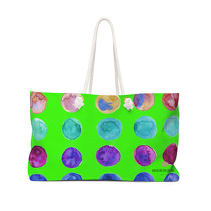 "Lime Green Designer Colorful Polka Dots Designer 24""x13"" Weekender Bag-Made in USA-Weekender Bag-24x13-Heidi Kimura Art LLC"