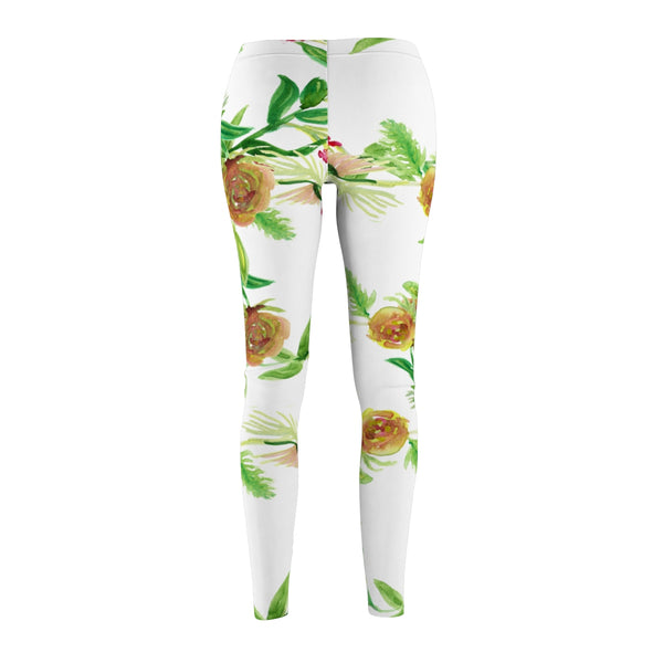 Orange Red Rose Floral Print Wreath Women's Long Skinny Fit Casual Leggings-Casual Leggings-Heidi Kimura Art LLC