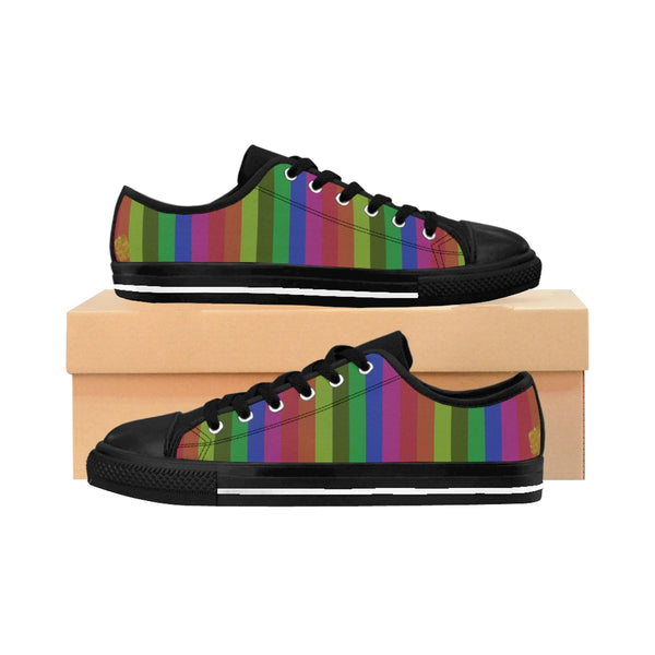 Gou Rainbow Stripe Gay Pride Women's Low Top Sneakers Running Shoes(US Size: 6-12)