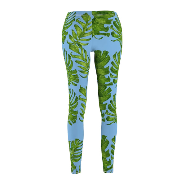 Light Blue Green Tropical Leaf Print Women's Dressy Long Casual Leggings- Made in USA-Casual Leggings-Heidi Kimura Art LLC