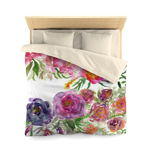 Mixed Summer Floral Pattern Green Queen Size or Twin Size Microfiber Duvet Cover-Duvet Cover-Queen-Cream-Heidi Kimura Art LLC