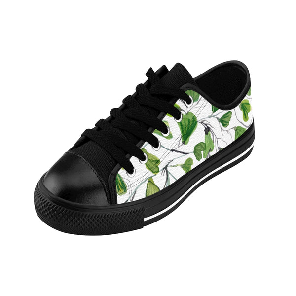 Green Maidenhair Print Men's Sneakers, Best Tropical Leaf Print Men's Low Top Tennis Shoes-Shoes-Printify-Heidi Kimura Art LLC White Green Maidenhair Men's Sneakers, Best Tropical Leaf Print Premium Men's Nylon Canvas Tennis Fashion Sneakers Shoes (US Size: 7-14)