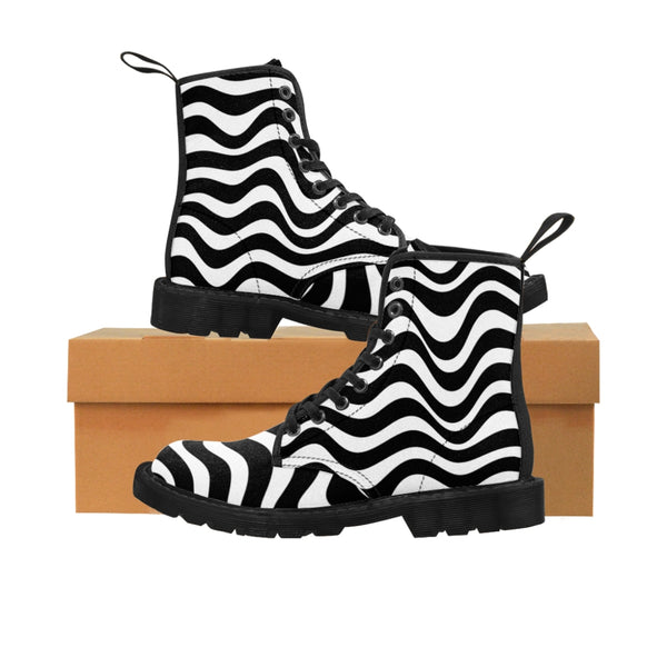 Wavy Striped Women's Canvas Boots, Modern White Black Stripes Print Winter Boots For Ladies-Shoes-Printify-Heidi Kimura Art LLC