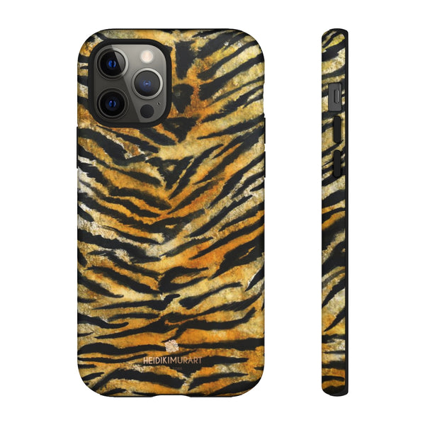 Tiger Stripe Print Phone Case, Animal Print Tough Designer Phone Case -Made in USA-Phone Case-Printify-iPhone 12 Pro-Matte-Heidi Kimura Art LLC