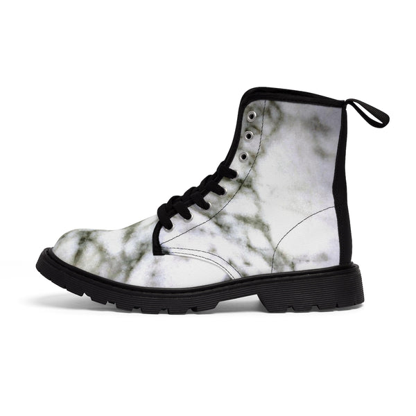 White Marble Print Designer Women's Canvas Lace-up Winter Boots Shoes (US Size: 6.5-11)-Women's Boots-Heidi Kimura Art LLC White Marble Women's Boots, White Marble Print Designer Women's Canvas Lace-up Winter Hiking Boots Shoes (US Size: 6.5-11)