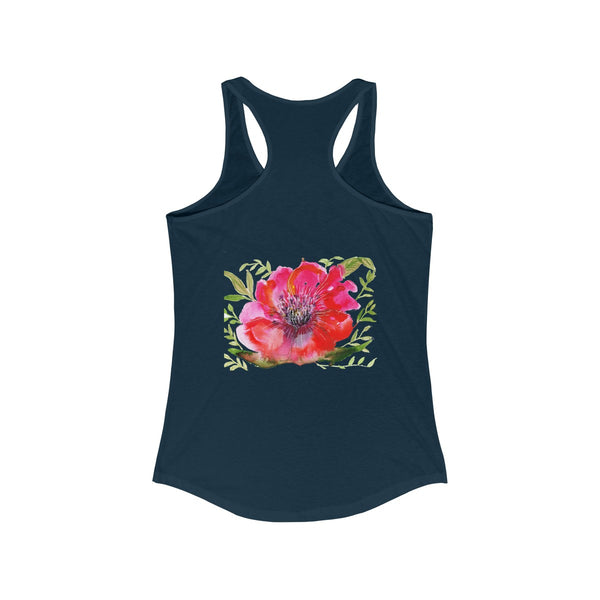 Red Designer Best Floral Women's Ideal Racerback Tank - Made in the USA-Tank Top-Heidi Kimura Art LLC