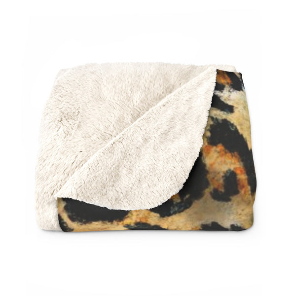 Cute Leopard Animal Print Designer Cozy Soft Sherpa Fleece Blanket - Made in USA-Blanket-Heidi Kimura Art LLC