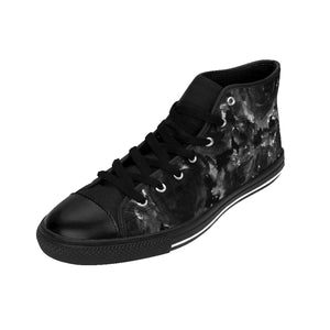 Smoking Rose Tattoo Floral Pattern Designer Men's High Top Sneakers (US Size: 6-14)-Men's High Top Sneakers-US 9-Heidi Kimura Art LLC