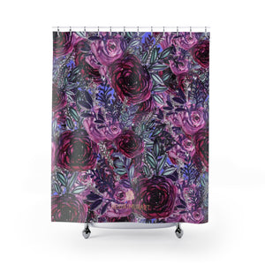 "Elegant Violet Purple Rose Floral Print 71x74 in Shower Curtains- Printed in USA-Shower Curtain-71"" x 74""-Heidi Kimura Art LLCPurple Rose Floral Shower Curtains, Elegant Violet Purple Rose Floral Print Designer Shower Curtains- Printed in USA, Large 100% Polyester 71x74 inches"