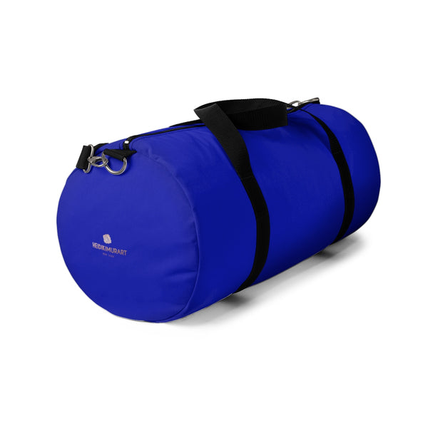 Blue Solid Color All Day Small Or Large Size Duffel Gym Bag, Made in USA-Duffel Bag-Heidi Kimura Art LLC