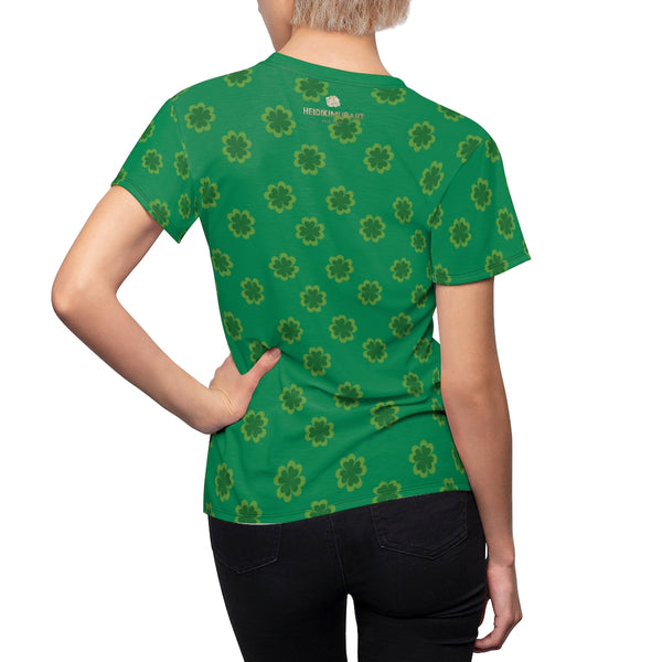 Dark Green Clover Pattern Print St. Patrick's Day Women's Crewneck Tee- Made in USA-Women's T-Shirt-Heidi Kimura Art LLC