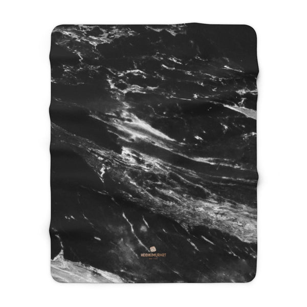 "Unisex Ultra Black Marble Print Designer Cozy Sherpa Fleece Blanket-Made in USA-Blanket-60"" x 80""-Heidi Kimura Art LLC"