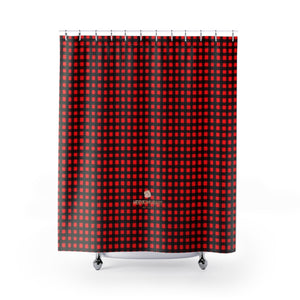 Buffalo Red Plaid Print Designer Polyester Shower Curtain- Made in USA, Premium Bathroom Shower Curtains Home Decor Large Size 100% Polyester 71x74 inches