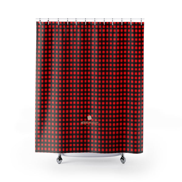 "Fine Buffalo Red Plaid Print Premium Quality Large Size Shower Curtains- Printed in USA-Shower Curtain-71"" x 74""-Heidi Kimura Art LLC Buffalo Red Plaid Shower Curtains, Buffalo Red Plaid Print Designer Polyester Shower Curtain- Printed in USA, Premium Bathroom Shower Curtains Home Decor Large Size 100% Polyester 71x74 inches"