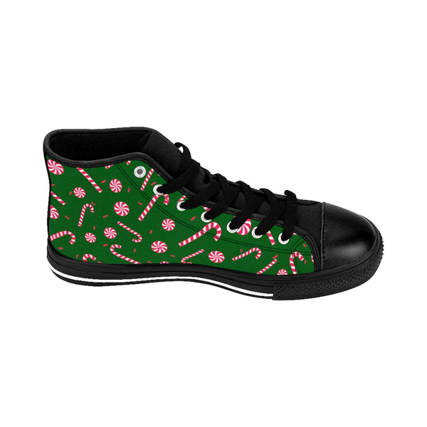 Dark Green Christmas Red White Candy Cane Men's High-Top Sneakers Shoes-Men's High Top Sneakers-Heidi Kimura Art LLC Dark Green Christmas Men's Sneakers, Dark Green Christmas Red White Candy Cane Print Men's High-Top Sneakers Christmas-Themd Footwear Shoes (US Size 6-14)