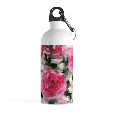 Pink Abstract Rose Floral Print Stainless Steel 14 oz Full Size Water Bottle - Made in USA-Mug-14oz-Heidi Kimura Art LLC