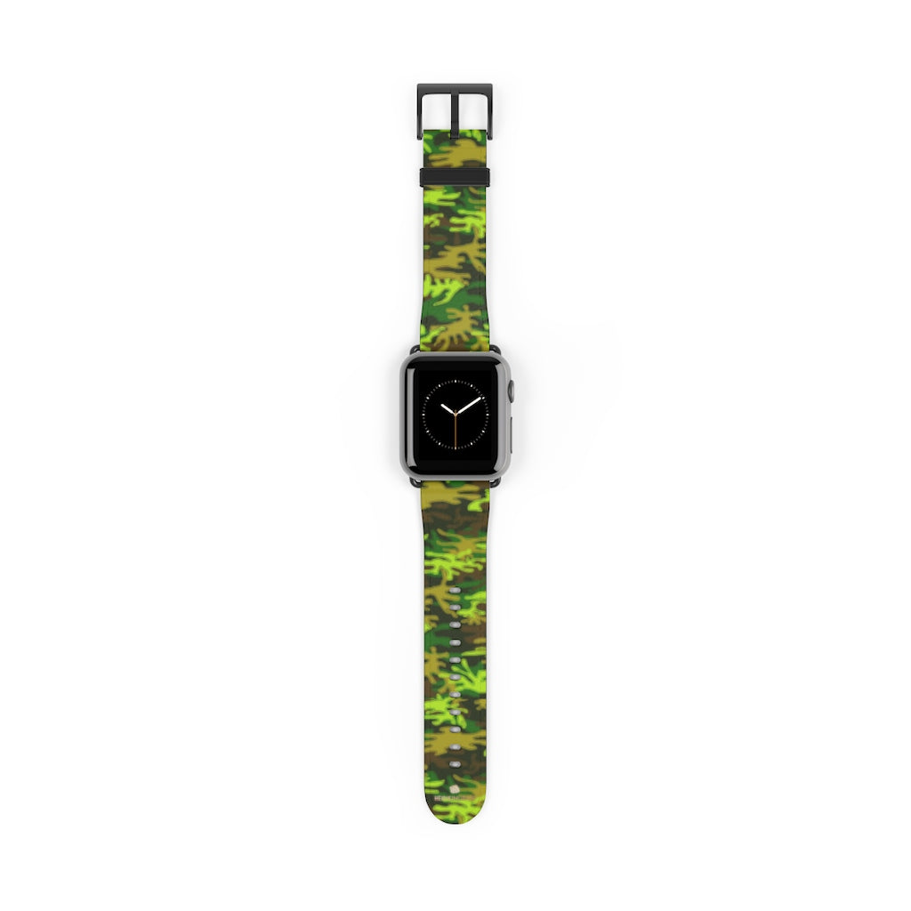 Green Brown Camo Military Print 38mm/42mm Watch Band For Apple Watch- Made in USA-Watch Band-38 mm-Black Matte-Heidi Kimura Art LLC
