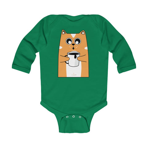 Cute Coffee Cat Print Baby Boy/ Girls Infant Kids Long Sleeve Bodysuit - Made in USA-Infant Long Sleeve Bodysuit-Kelly-18M-Heidi Kimura Art LLC