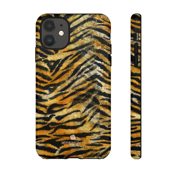 Orange Tiger Striped Phone Case, Animal Print Tough Cases, Designer Phone Case-Made in USA-Phone Case-Printify-iPhone 11-Glossy-Heidi Kimura Art LLC
