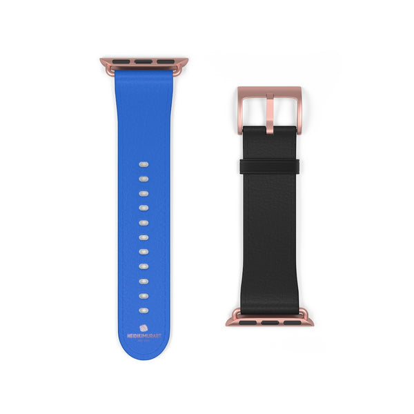Blue Black Duo Solid Color Print 38mm/42mm Watch Band For Apple Watch- Made in USA-Watch Band-38 mm-Rose Gold Matte-Heidi Kimura Art LLC