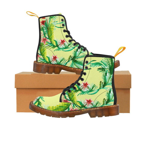 Designer Vintage-Style Light Yellow Floral Print Women's Nylon Canvas Winter Boots-Women's Boots-Brown-US 10-Heidi Kimura Art LLC Yellow Floral Women's Boots, Designer Vintage-Style Light Yellow Floral Print Women's Nylon Canvas Winter Boots (US Size: 6.5-11)