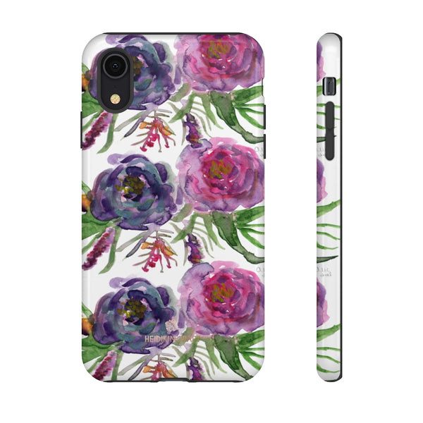 Pink Floral Print Phone Case, Roses Tough Designer Phone Case -Made in USA-Phone Case-Printify-iPhone XR-Glossy-Heidi Kimura Art LLC