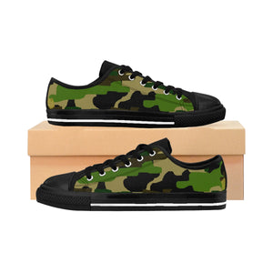 Military Army Green Camouflage Print Low Top Women's Running Sneakers Shoes-Women's Low Top Sneakers-US 10-Black-Heidi Kimura Art LLC