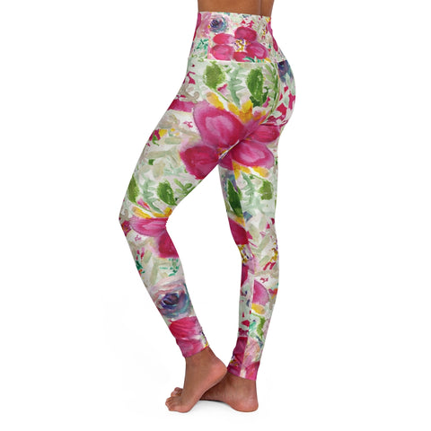 Pink Flower Tights, Floral High Waisted Yoga Leggings, Rose Flower Print Modern Best Ladies High Waisted Skinny Fit Yoga Leggings With Double Layer Elastic Comfortable Waistband, Premium Quality Best Stretchy Long Yoga Pants For Women-Made in USA (US Size: XS-2XL)