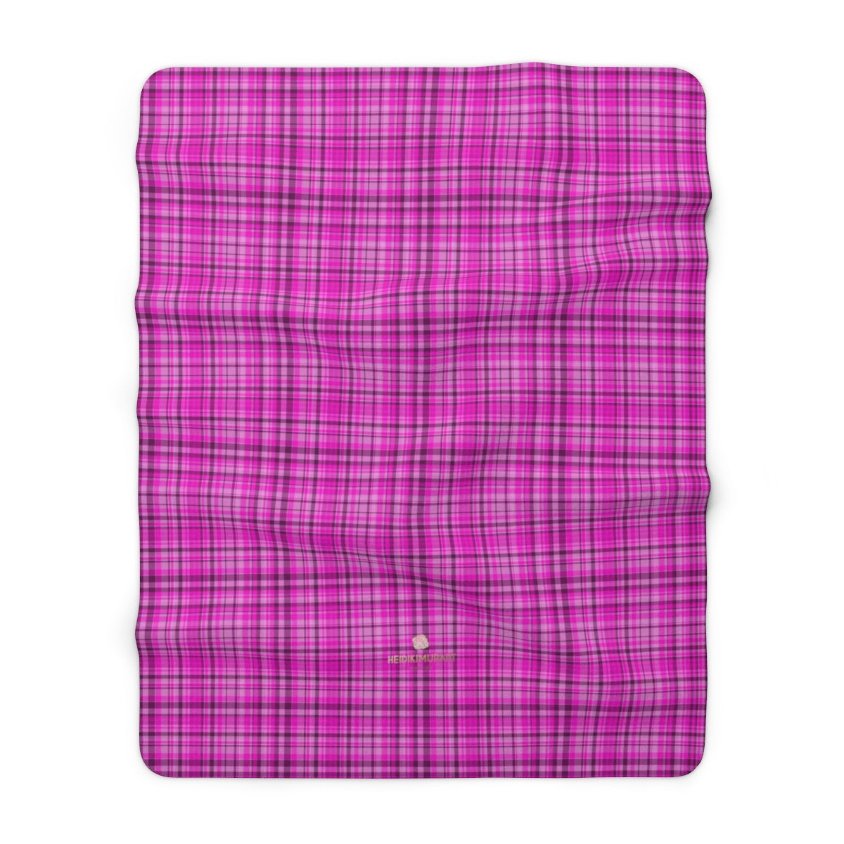 "Pink Tartan Plaid Print Designer Cozy Sherpa Fleece Blanket-Made in USA-Blanket-60"" x 80""-Heidi Kimura Art LLC"