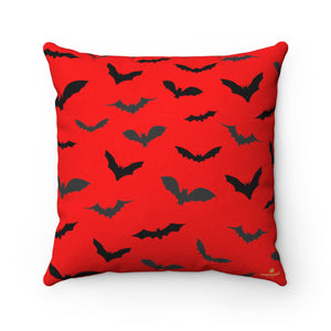 "Red Gray Black Bats Print Halloween Pillow Spun Polyester Square Pillow- Made in USA-Pillow-14"" x 14""-Heidi Kimura Art LLC"