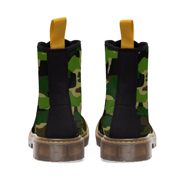 Green Camouflage Women's Canvas Boots, Army Military Print Winter Boots For Ladies-Shoes-Printify-Heidi Kimura Art LLC
