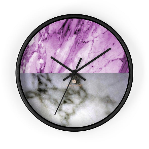 "Pink White Marble Print Art Large Indoor Designer 10"" dia. Wall Clock-Made in USA-Wall Clock-10 in-Black-Black-Heidi Kimura Art LLC"