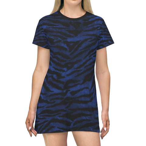 Navy Blue Tiger Stripe Animal Print Designer Long Crew Neck T-shirt Dress-Made in USA-T-Shirt Dress-L-Heidi Kimura Art LLC Navy Blue Tiger Dress, Navy Tiger Stripe Animal Print Designer Crew Neck Women's Long Tee T-shirt Dress-Made in USA (US Size: XS-2XL)