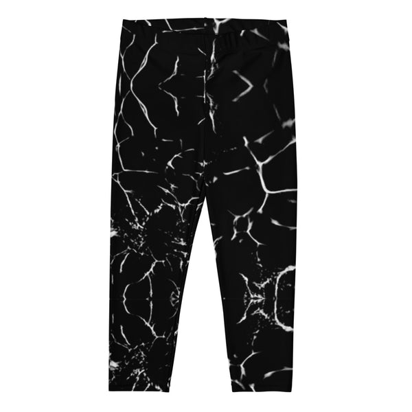 Black Marble Capri Leggings-Heidikimurart Limited -Heidi Kimura Art LLC