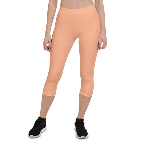 Peach Pink Capri Leggings-Heidikimurart Limited -Heidi Kimura Art LLC