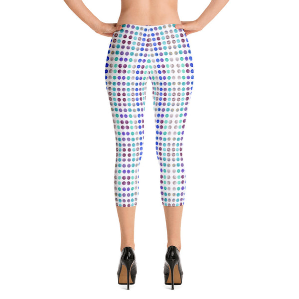 Polka Dots Women's Capri Leggings-Heidikimurart Limited -XS-Heidi Kimura Art LLC
