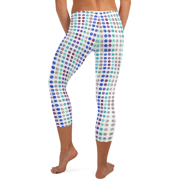 Polka Dots Women's Capri Leggings-Heidikimurart Limited -Heidi Kimura Art LLC
