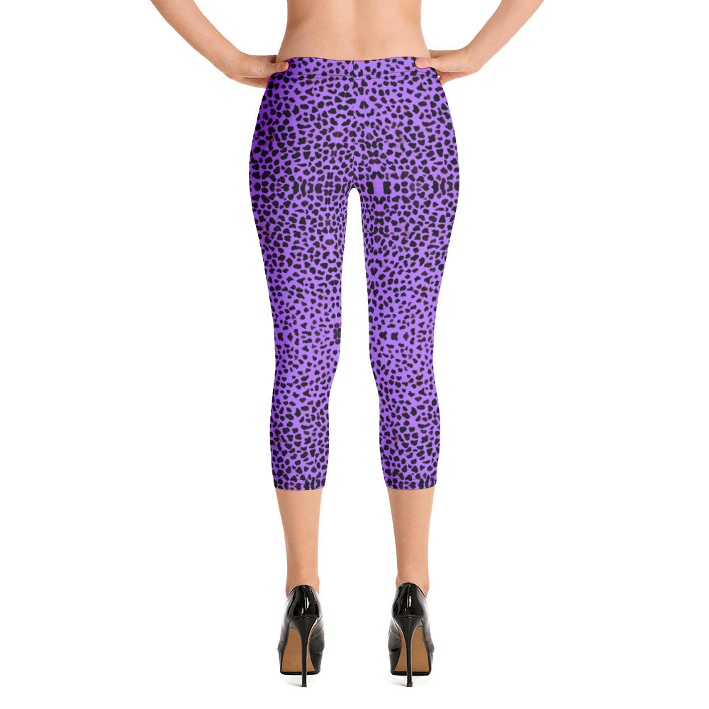 Purple Cheetah Capri Leggings-Heidikimurart Limited -XS-Heidi Kimura Art LLC