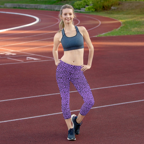 Purple Cheetah Capri Leggings-Heidikimurart Limited -Heidi Kimura Art LLC