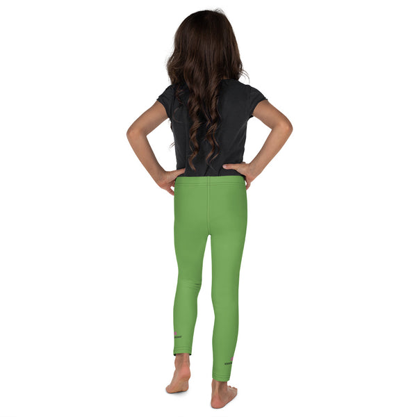 Cute Green Kid's Leggings, Green Solid Color Print Designer Kid's Girl's Leggings Active Wear 38-40 UPF Fitness Workout Gym Wear Running Tights, , Premium Unisex Tights For Boys And Girls, Comfy Stretchy Pants (2T-7) Made in USA/EU/MX, Girls' Leggings & Pants, Leggings For Girls, Designer Girls Leggings Tights, Leggings For Girl Child