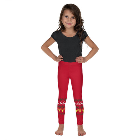 Red Reindeer Christmas Kid's Leggings, Reindeer Classic Xmas Party Print Designer Kid's Girl's Leggings Active Wear 38-40 UPF Fitness Workout Gym Wear Running Tights, Comfy Stretchy Pants (2T-7) Made in USA/EU/MX, Girls' Leggings & Pants, Leggings For Girls, Designer Girls Leggings Tights, Leggings For Girl Child