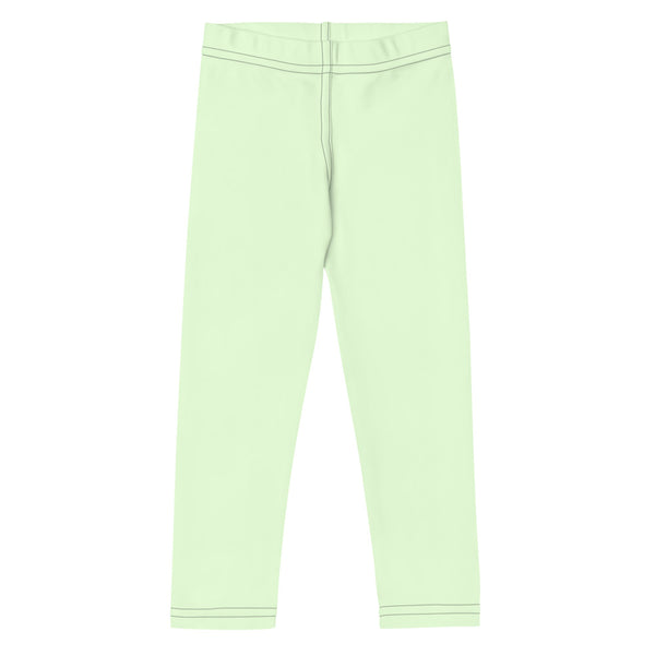 Pastel Green Solid Color Kid's Leggings, Pale Green Solid Color Print Designer Kid's Girl's Leggings Active Wear 38-40 UPF Fitness Workout Gym Wear Running Tights, Comfy Stretchy Pants (2T-7) Made in USA/EU/MX, Girls' Leggings & Pants, Leggings For Girls, Designer Girls Leggings Tights, Leggings For Girl Child