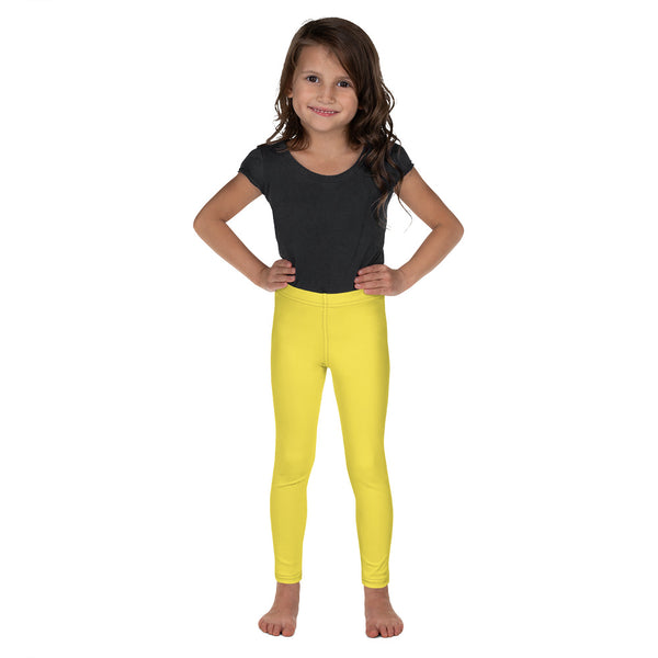 Bright Yellow Kid's Leggings, Yellow Solid Color Print Designer Kid's Girl's Leggings Active Wear 38-40 UPF Fitness Workout Gym Wear Running Tights, , Premium Unisex Tights For Boys And Girls, Comfy Stretchy Pants (2T-7) Made in USA/EU/MX, Girls' Leggings & Pants, Leggings For Girls, Designer Girls Leggings Tights, Leggings For Girl Child