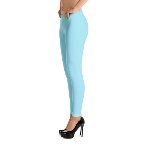 Pale Blue Women's Casual Leggings, Solid Light Pastel Blue Color Fashion Fancy Women's Long Dressy Casual Fashion Leggings/ Running Tights - Made in USA/ EU/ MX (US Size: XS-XL)
