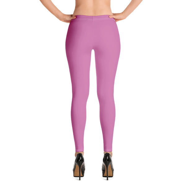 Pink Solid Color Casual Leggings-Heidikimurart Limited -XS-Heidi Kimura Art LLC Pink Solid Color Casual Leggings, Best Hot Pink Solid Color Fashion Fancy Women's Long Dressy Casual Fashion Leggings/ Running Tights - Made in USA/ EU/ MX (US Size: XS-XL)