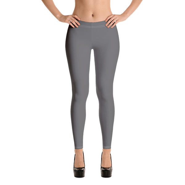 Charcoal Grey Women's Casual Leggings-Heidikimurart Limited -Heidi Kimura Art LLC Charcoal Grey Women's Casual Leggings, Solid Color Fashion Fancy Women's Long Dressy Casual Fashion Leggings/ Running Tights - Made in USA/ EU/ MX (US Size: XS-XL)