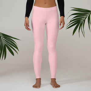 Pink Solid Color Casual Leggings-Heidikimurart Limited -XS-Heidi Kimura Art LLC Light Pink Solid Color Casual Leggings, Best Solid Color Fashion Fancy Women's Long Dressy Casual Fashion Leggings/ Running Tights - Made in USA/ EU/ MX (US Size: XS-XL)