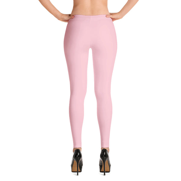 Pink Solid Color Casual Leggings-Heidikimurart Limited -Heidi Kimura Art LLC Light Pink Solid Color Casual Leggings, Best Solid Color Fashion Fancy Women's Long Dressy Casual Fashion Leggings/ Running Tights - Made in USA/ EU/ MX (US Size: XS-XL)