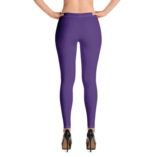 Dark Purple Women's Casual Leggings-Heidikimurart Limited -XS-Heidi Kimura Art LLC Dark Purple Women's Casual Leggings, Solid Color Fashion Fancy Women's Long Dressy Casual Fashion Leggings/ Running Tights - Made in USA/ EU/ MX (US Size: XS-XL)